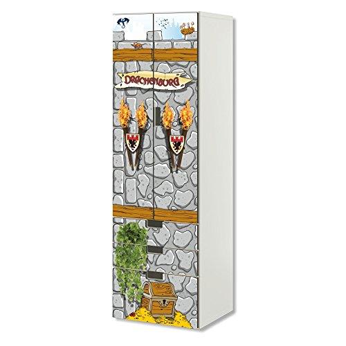 STIKKIPIX Ritterburg Möbelfolie | SC3K07 | passend für die Kinderzimmer Aufbewahrungskombination STUVA von IKEA | Klebe-Folie passgenau für Schrank und Kommode mit 3 Fächern | Möbel Nicht Inklusive