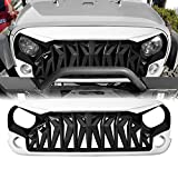 ICARS White & Black Shark Grill Front Cover for 2007-2018 Jeep Wrangler JK JKU Accessories & Unlimited, ABS
