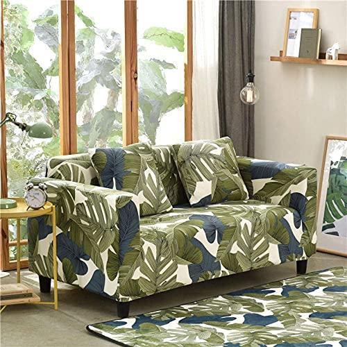 WLVG Funda elástica para sofá de 2 plazas, 145 – 185 cm, hojas tropicales, color verde, suave, elástica, para salón, sofá, cama, sillón, sillón, perros, mascotas
