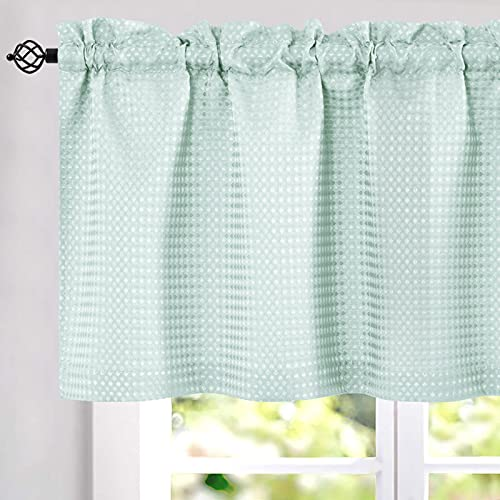 """Light Teal Aqua Waffle Weave Textured Valance for Bathroom Water Repellent Window Covering for Kitchen 1 Panel 60""""x 18"""""""