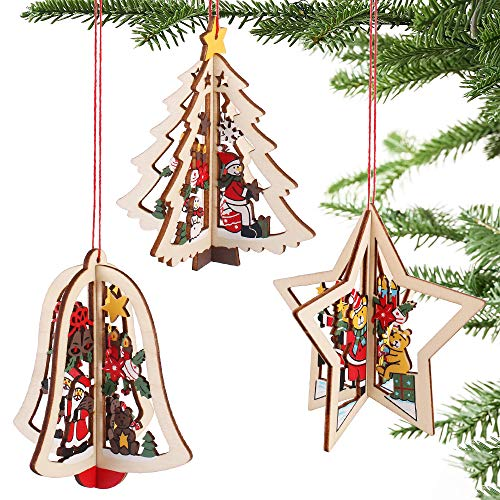 Partybus 3D Wooden Christmas Ornaments 15 Pack, Unfinished Wood Cutouts for Holiday Card Decoration, Xmas Gift Tags for Kids Art & Craft DIY, String Pre-Tied Slices Rustic Coaster Décor