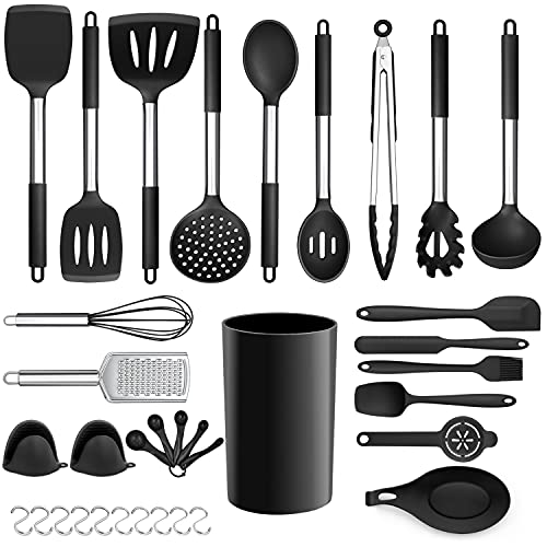 LIANYU Kitchen Cooking Utensils Set, 35-Piece Silicone Cooking Utensils Spatula Set with Holder, Non-stick Heat Resistant Cookware with Stainless Steel Handle, Black