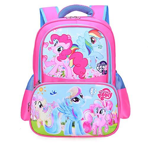 MY L. Pony Kids Backpacks for Girls Teens Cute Pink Bookbag School Travel Breathable Waterproof Bags