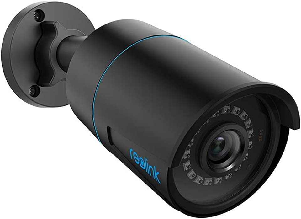Reolink 5MP Smarte Überwachungskamera PoE IP Kamera mit Personen- / Autofunktionen und IP66 Wetterfest für den Außenbereich mit Micro SD Kartensteckplatz und Audioaufnahme/Mikrofon, RLC-510A Schwarz
