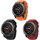 Supore Correa compatible con reloj deportivo Fenix 5X/Fenix 6X - correa de silicona para reloj inteligente Garmin Fenix 6X Pro/Fenix 6X Sapphire/Fenix 5X Plus, 3 unidades