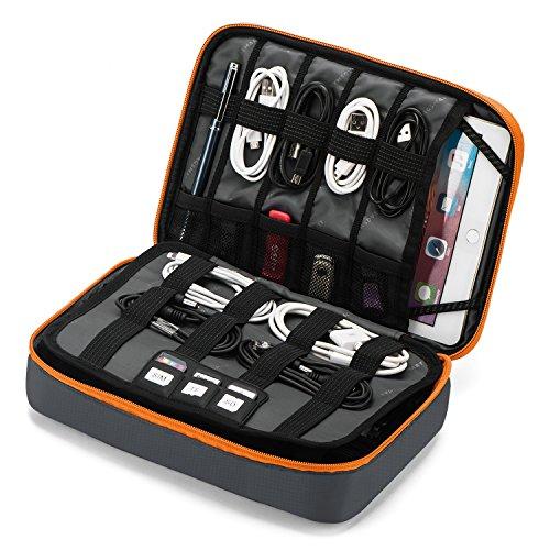 bagsmart Elektronik Zubehör Tasche, Große Reise Kabeltaschen für Ladegerät, Kabel, iPad, iPad Air, Tablet bis zu 9,7 Zoll, Adapter, Maus, SD Karten(Grau)