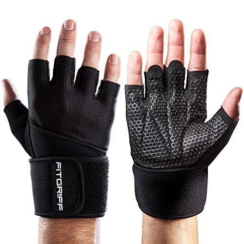 Fitgriff® Fitness Handschuhe V2, Trainingshandschuhe, Sporthandschuhe für Damen und Herren, Krafttraining, Kraftsport, Training, Sport, Gym, Workout Gloves (Full Black, 7)