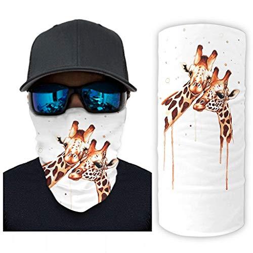 CCMugshop Mscara facial Balaclava con diseo de jirafa, para madre o nio, sin costuras, color blanco, talla nica