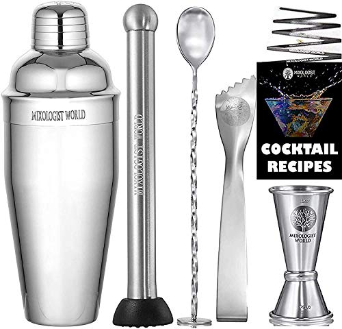 Cocktail Shaker with Recipes - 5 pieces Bartender Set 24 oz Bar Tool Kit Accessories - Stainless Steel Drink Mixer Built-in Strainer, Muddler, Mixing Spoon, Measuring Jigger, Ice Tong…
