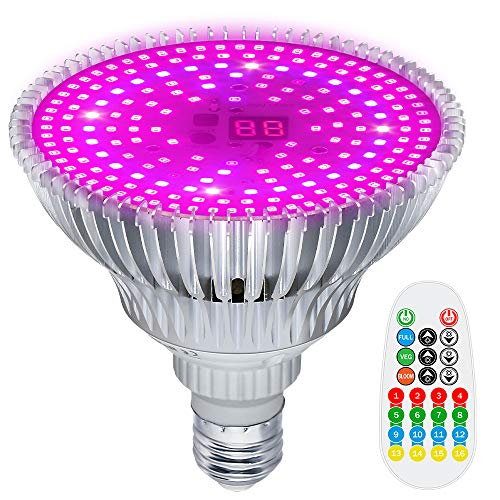 MZVUL LED Grow Light Bulb Timing 100W Full Spectrum Plant Light Bulb Dimmable with 3 Modes Auto On/Off Grow Lights for Indoor Plants Garden Flowers Vegetables Greenhouse Hydroponic Growing (E26/E27)