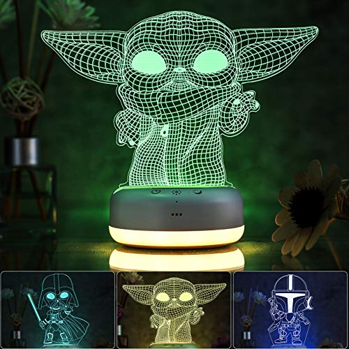 3D Star Wars Night Light for Kids, 3 Patterns and 16 Color Change Night Light, Kids' Room Decor...