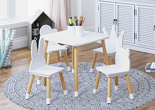 UTEX Kids Table with 4 Chairs Se...