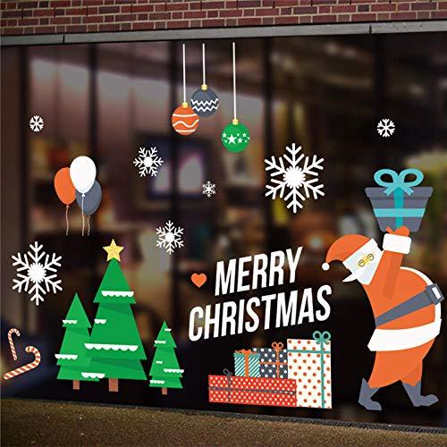 Decors Meisjes Boom Ballonnen Ballen Sneeuwvlokken Muurstickers voor Winkel Huisdecoratie DIY Xmas Festival Window Decals PVC Posters