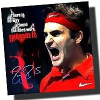 ロジャー・フェデラー プロテニス 海外スポーツグラフィックアートパネル 木製 壁掛け インテリア ポスター (26*26cm アートパネルのみ)