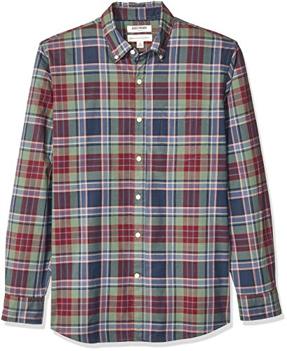 Amazon Brand - Goodthreads Men's Standard-Fit Long-Sleeve Lightweight Madras Plaid Shirt, Green...