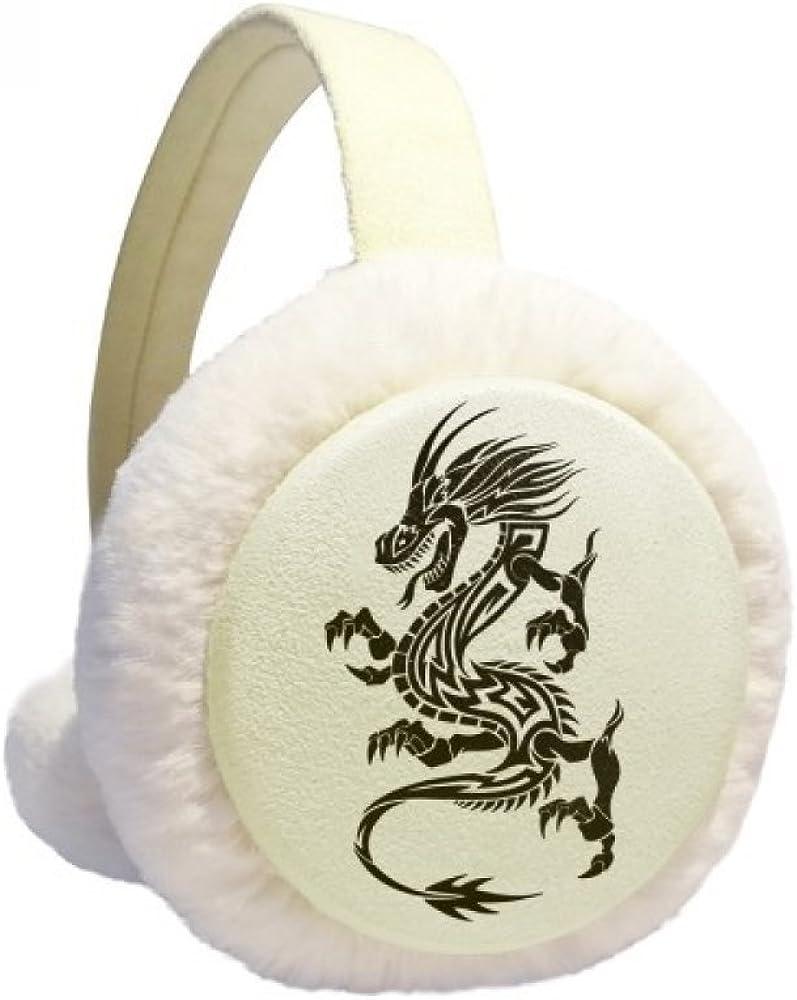 Dragon Animal Art Grain Outline Winter Ear Warmer Cable Knit Furry Fleece Earmuff Outdoor