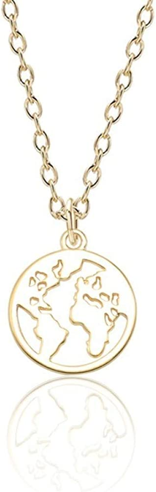 SWAOOS World Map Pendant Necklace Trendy Gold Corlour Hollow Geometric Round Globe Earth Map Necklaces Pendants Collares
