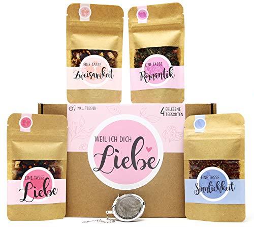 Weil ich Dich Liebe Tee Geschenk-Box mit 4 verschiedene Sorten Tee und Tee-Ei Geschenkidee Liebeserklärung