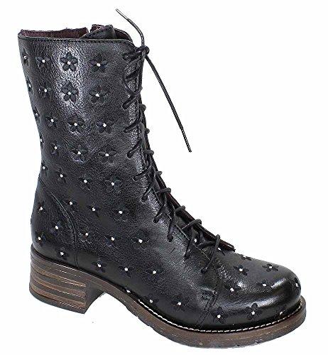 Brako Stiefel Boots schwarz 8432 traviata Negro Military Leder Blumen (42)