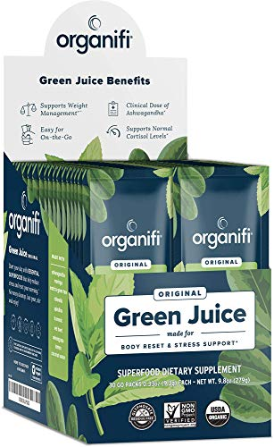 Organifi: GO Packs - Green Juice - Organic Superfood Supplement Powder - 30 Count - Organic Vegan Greens - Hydrates and Revitalizes - Support Immunity, Relaxation and Sleep