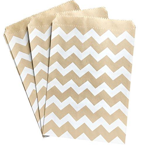 Kraft Brown and White Treat Sacks - Chevron Favor Bags - 5.5 x 7.5 inches - Bulk 100 Pack