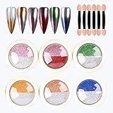 Polvo Holográfico de Brillo de Uñas Cromado, Efecto de Espejo Láser Nail Art Gradiente de Dos Colores Polvo de Uñas Manicura Decoración de Arte