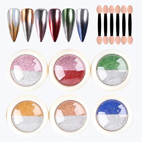 Holographisches Chrom-Nagelglitterpulver, Laserspiegeleffekt Nail Art Zweifarbiger Farbverlauf Neues...