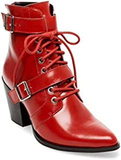 Steve Madden Womens Patterson Leather Closed Toe Ankle, Red Leather, Size 7.5