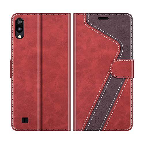 MOBESV Handyhülle für Samsung Galaxy A10 Hülle Leder, Samsung Galaxy A10 Klapphülle Handytasche Case für Samsung Galaxy A10 / Galaxy M10 Handy Hüllen, Modisch Rot