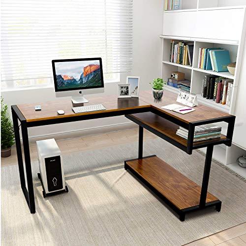 amzdeal Eckschreibtisch Großer Computertisch, L-förmiger Schreibtisch mit Lagerregalen, Robust Bürotisch Winkelkombination Ecktisch Arbeitstisch für Home Office