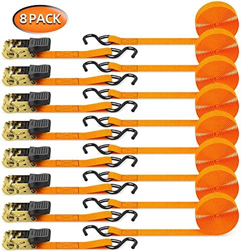 Ratschen Spanngurte mit S-Haken, Ohuhu 680kg 4,6m 2,5cm Ratschenschloss, Zurrgurt, Spanngurte, Ratschengurte (8 Stück im Set Orange)
