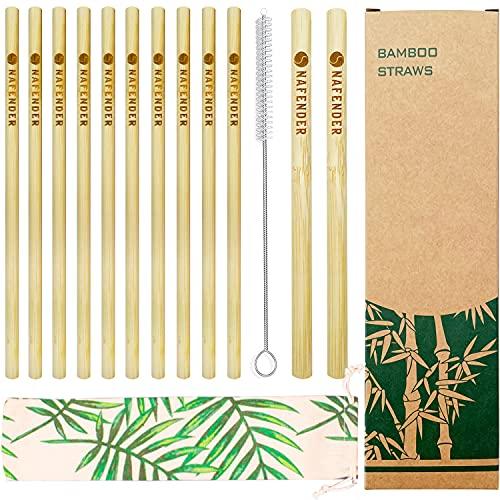 Nafender® Paille Bambou Reutilisable Bio Fine & Gros Bubble Tea Pailles Paquet de 12 Lavable au Lave-vaisselle Dégradable Compostable