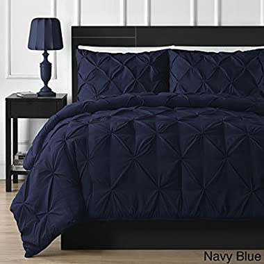 Double Needle Durable Stitching Comfy Bedding 3-piece Pinch Pleat Comforter Set All Season Pintuck Style (Queen, Navy Blue)
