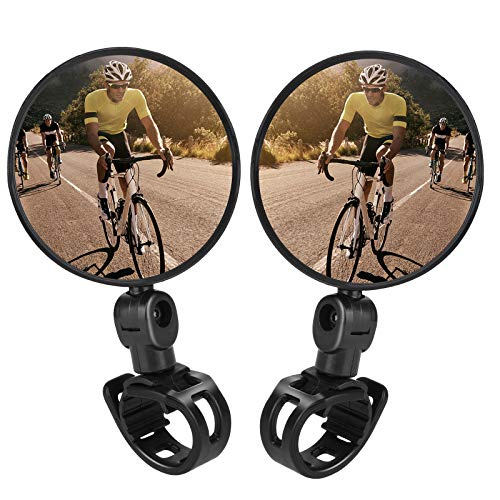 TAGVO Bike Mirrors, 2pcs Bicycle Cycling Rear View Mirrors Adjustable Rotatable Handlebar Mounted Plastic Convex Mirror for Mountain Road Bike