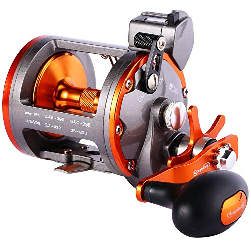 Sougayilang Line Counter Trolling Reel Conventional Level Wind Fishing Reel-Thunder LS II 3000L-Left Handed