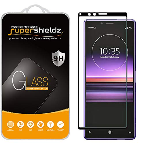 protector for xperia (2 Pack) Supershieldz Designed for Sony (Xperia 1) Tempered Glass Screen Protector, (Full Cover) (3D Curved Glass) Anti Scratch, Bubble Free (Black)