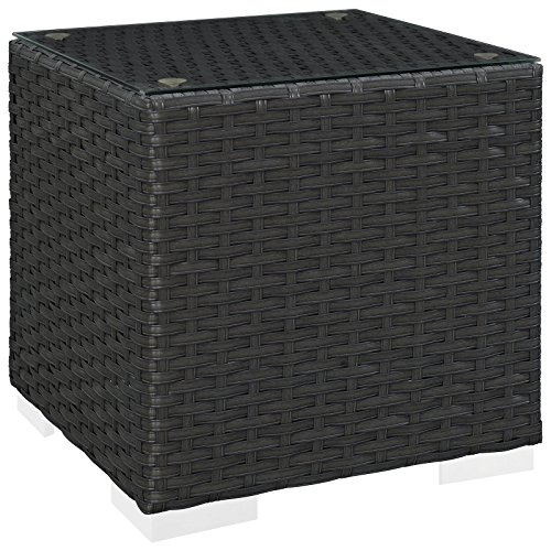 Modway Sojourn Wicker Rattan Outdoor Patio Side End Table in Chocolate