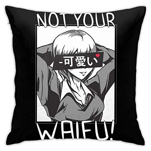 qidong Anime - Not Your Waifu - Fundas de almohada cuadradas para sofá y sofá japonés Kawaii MaGirl2 para decoración del hogar, 45,7 x 45,7 cm