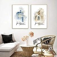 水彩画の建物の風景画抽象塗装教会の壁アートキャンバスポスターモダンなリビングルームの家の装飾50x70cmx2-フレームなし