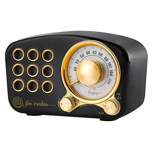 Vintage Radio Portatile Bluetooth Pequena - FM Retro Altavoz, Mini Bolsillo Clásico Coche Muebles Decoracion, Fuerte Mejora de Graves Alto Volumen Radios, Tarjeta AUX TF y Reproductor de MP3