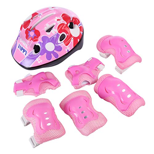 PHYNEDI Protektorenset für Kinder, Mädchen Helm Set Roller Skate Outdoor Sport Pad Set Kinderschoner für Inliner, Radfahren