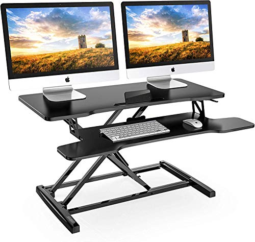 "FITUEYES Height Adjustable Standing Desk 32"" Wide Sit to Stand Converter Stand Up Desk Tabletop Workstation for Dual Monitor Riser SD308001WB"