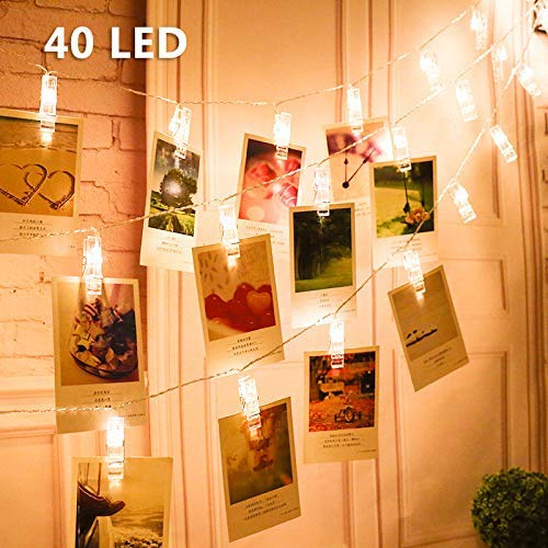LED Foto Clips Lichterketten, Vegena LED Fotolichterkette Lichterkette Batteriebetriebene Warmweiß Dauerlicht für Bilder Fotos Karten Valentinstag Weihnachten Geburtstag Party Hochzeit Deko 40 LEDs