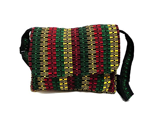 Medium Sized Rasta Woven Striped Pattern Padded Flap Travel Messenger Bag Purse w/Exterior Zipper Pocket & Crossbody Strap