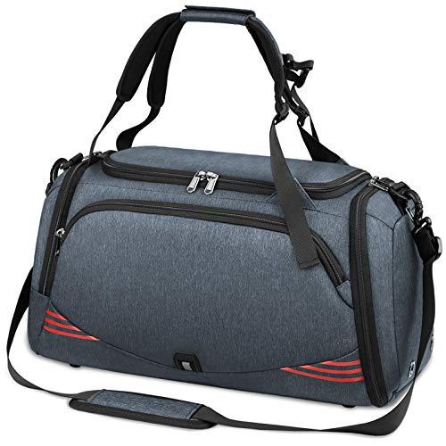 NUBILY Bolsa Deporte Hombre Bolsas Gimnasio Mujer Bolso Fin de Semana Viaje con Compartimento para Zapatos Gym Bag Impermeable Grande 65L (Gris Azul-Plus)