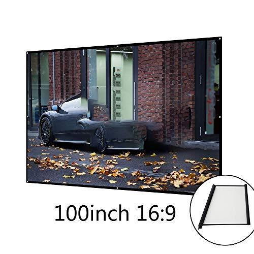 Best Deals! Portable 4K Projector Screen 100Large Format 16: 9 Indoor Projection Screen Easy Instal...
