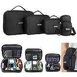 SAWAKE 4 pcs Elektronik Tasche, Zubehör Organizer, Handytasche, Kabeltasche Kabelorganizer, Elektronik Aufbewahrungstasche, Universaltasche für Elektronische Kleingeräte zur Reise Schwarz