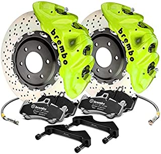 Brembo Front Brake kit Drilled 412x38 2-piece Rotor Monobloc 8-piston B-M8 Fluorescent yellow Caliper 1Q1.9615A7