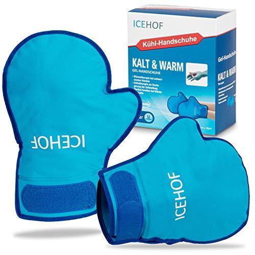 ICEHOF Gel-Handschuhe [2x] Sanfter Stoff - Kälte- & Wärme-Therapie für Hände/Finger bei Chemo-Therapie/Rheuma - Kühlhandschuhe Kältehandschuhe