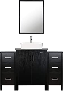 "eclife 48"" Bathroom Vanity Sink Combo Black W/Side Cabinet Vanity White Ceramic Vessel Sink and Chrome Bathroom Solid Brass Faucet and Pop Up Drain, W/Mirror (T03B042B11)"